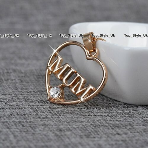 Heart Mum Necklace Rose Gold /& Crystal Pendant Xmas Gifts for Her Mother Day E5