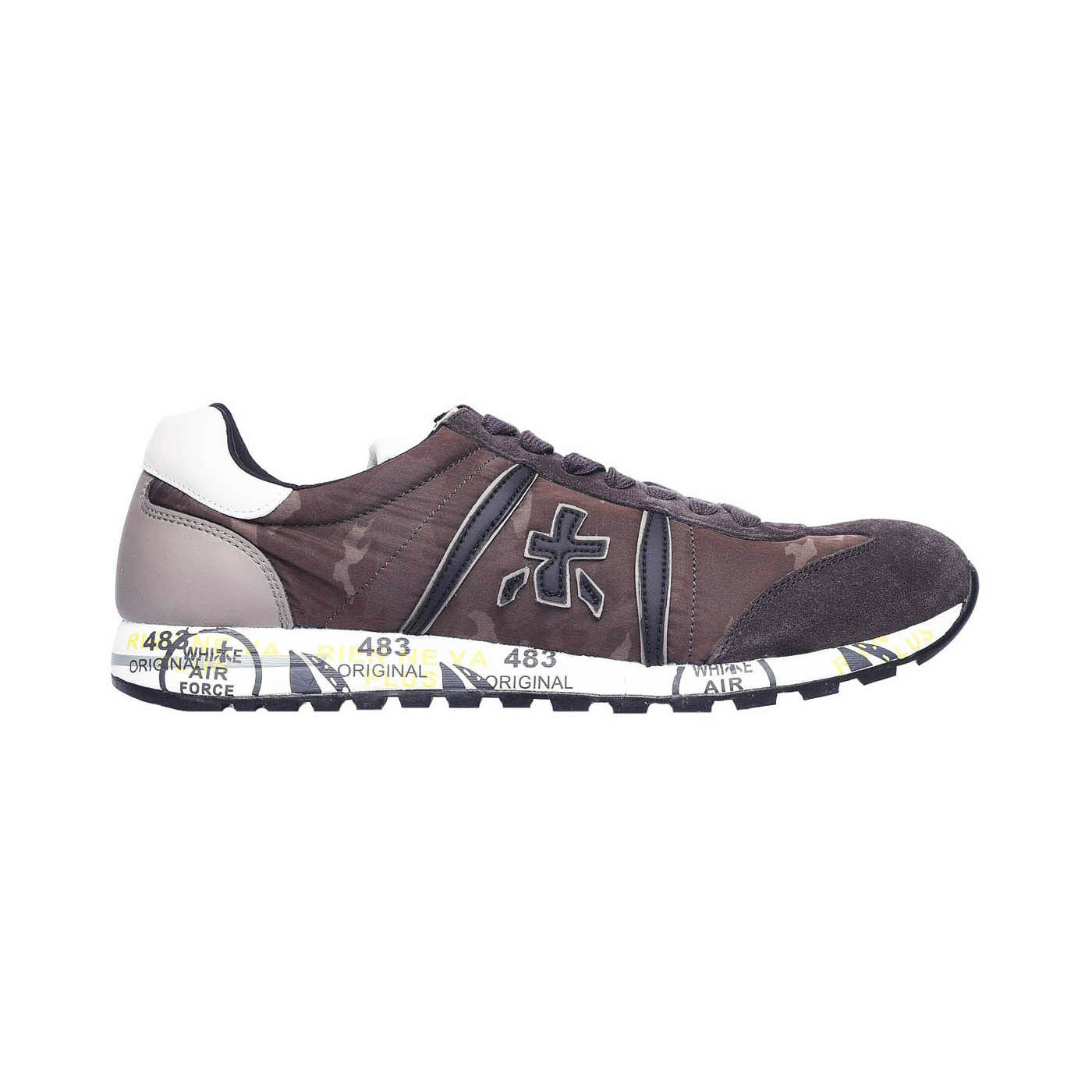 Premiata Lucy 2459 Leather - Fabric Italian Sneakers Brown Camo