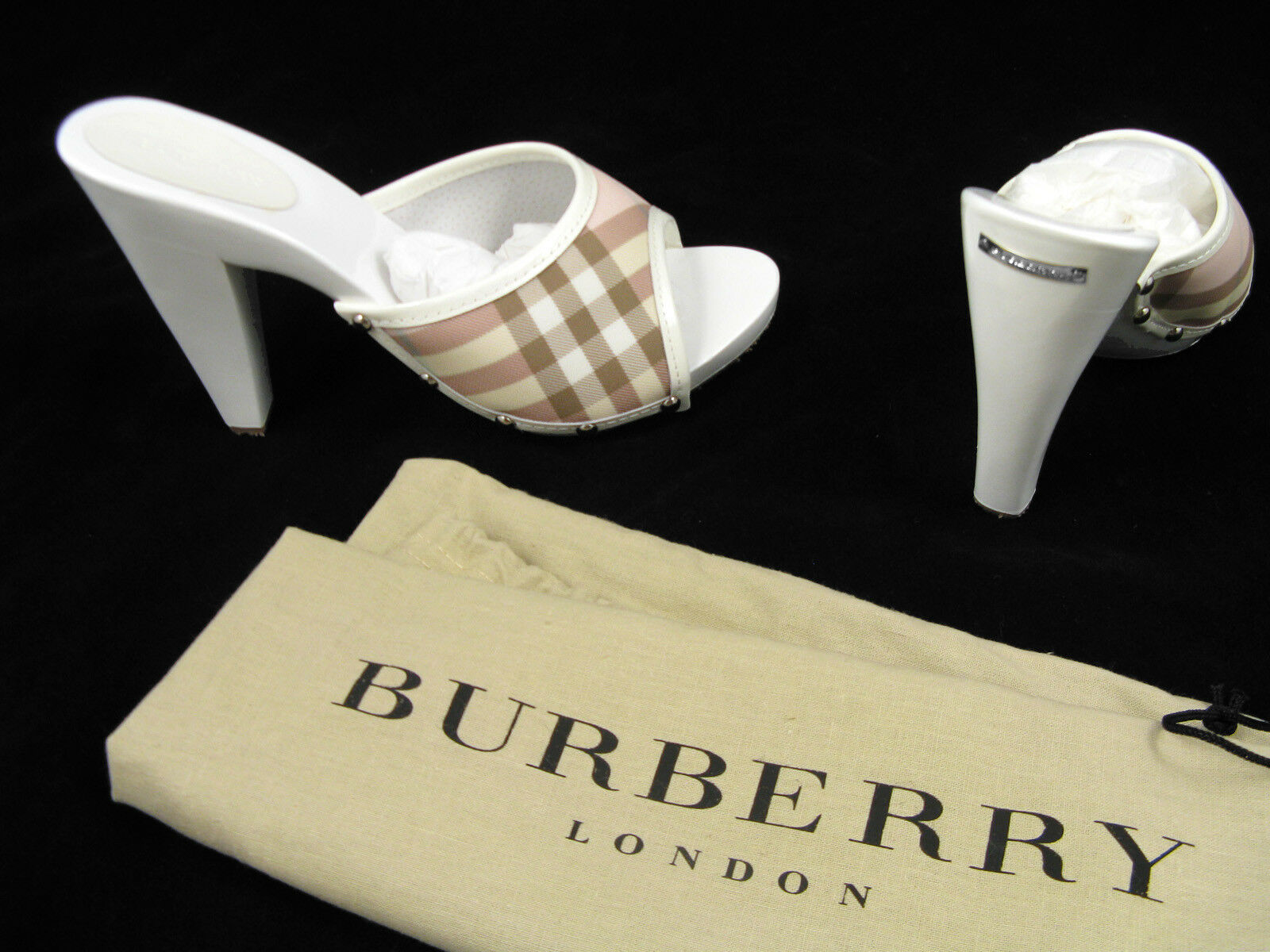 NEW Burberry Shastrid shoes (Mules) (Slides)  US 7 Euro 37 White with Pink Check