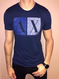 ARMANI-EXCHANGE-DESIGNER-T-SHIRT-MENS-SLIM-FIT-AX-DARK-BLUE-NWT-S-M-L-EXCLUSIVE