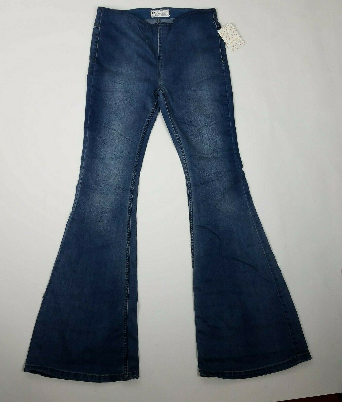 Free People Womens Pull On Flare Jeans Sz 29 bluee G2