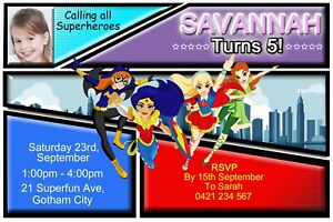 Superhero Girls Invitation Super Hero Birthday Party Invite Dc