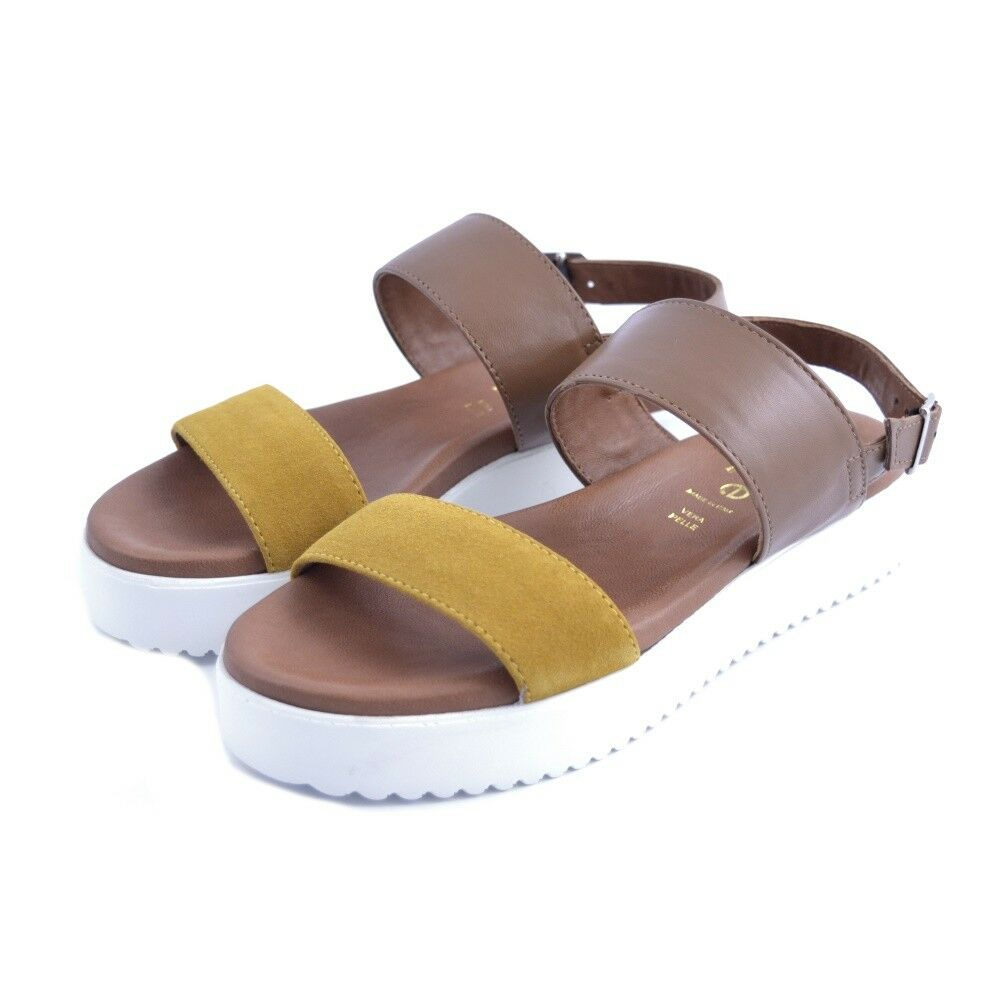 shoes sandals La Fiore Milano woman suede yellow leather Made In