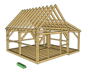 Timber frame cabin plans size 16 39 x 20 39 w porch two doors for Timber frame plans for sale