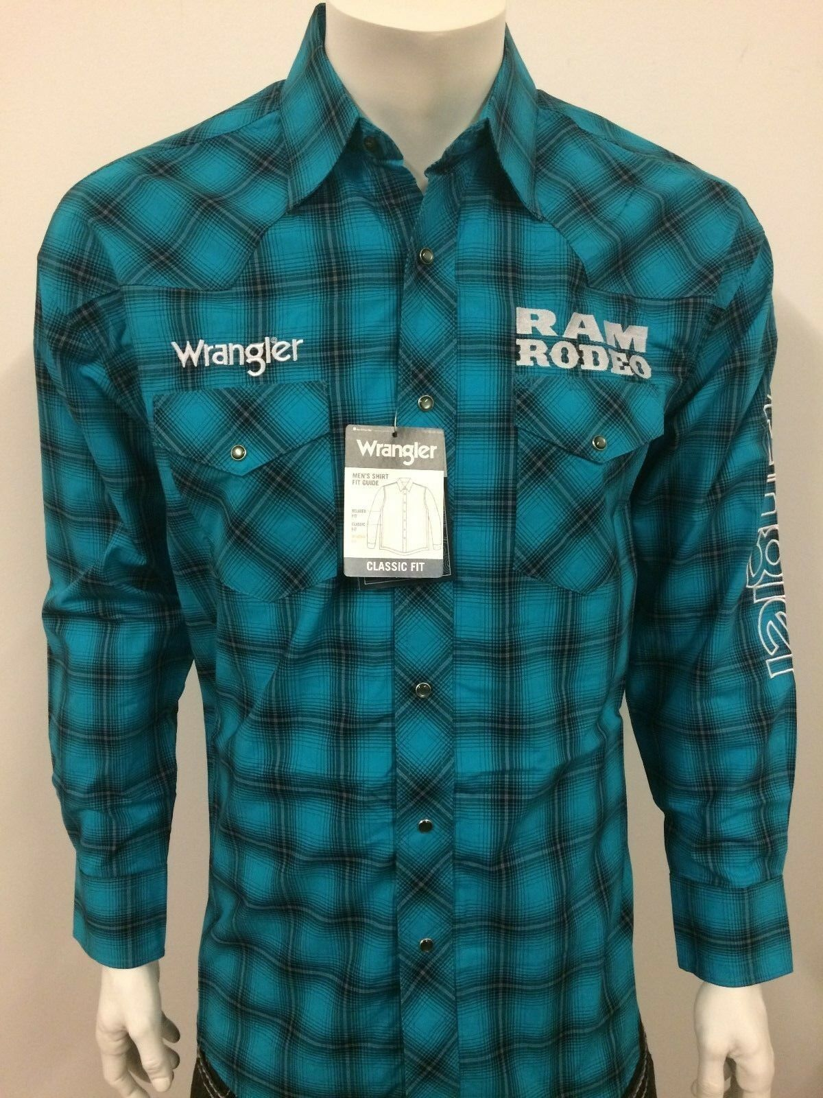 NWT Wrangler Dodge RAM Logo Rodeo Western Embroidered Long Sleeve.(L) Shirt.