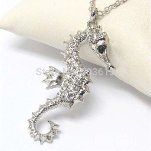 UK Seller NEW Beautiful Silver Tone Diamante Seahorse Necklace