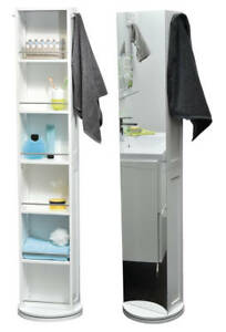 Image Is Loading Evideco Swivel Storage Cabinet Organizer Freestanding Linen Tower