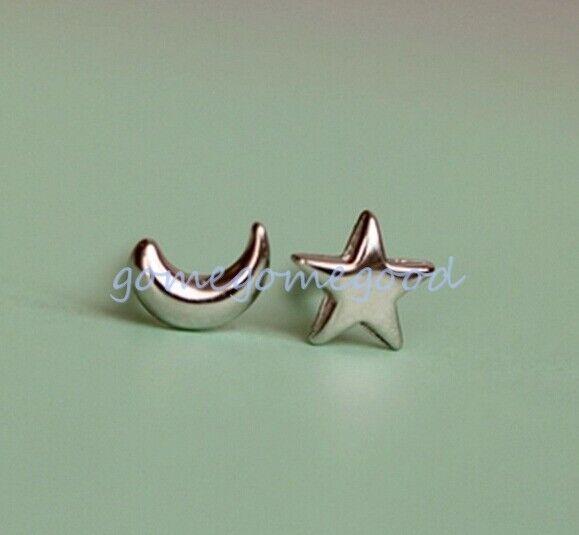 925 Sterling Silver - Moon Star Simple Club Mini Asymmetric Earrings Jewelry