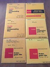 6 Kodak Wratten Gelatin Filters LOT 2 75mmx75mm, 3 inch squares variety