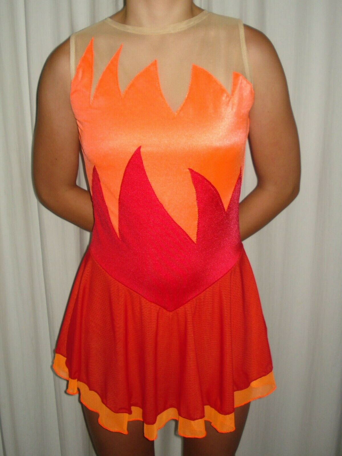 Figure S   Dress-Fire Themed-Red & orange Flames-Sleeveless-Adult & Girl Sizes  high quality & fast shipping