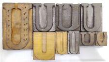 Letterpress Letter Wood Type Printers Block Lot Of 9 U Typography Eb 231