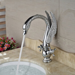 Image Is Loading Luxury Swan Style Bathroom Sink Mixer Faucet Chrome