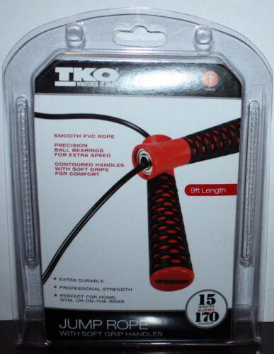 TKO Red /& Black 9ft Soft Grip Handles Cardio Jump Rope NIP **