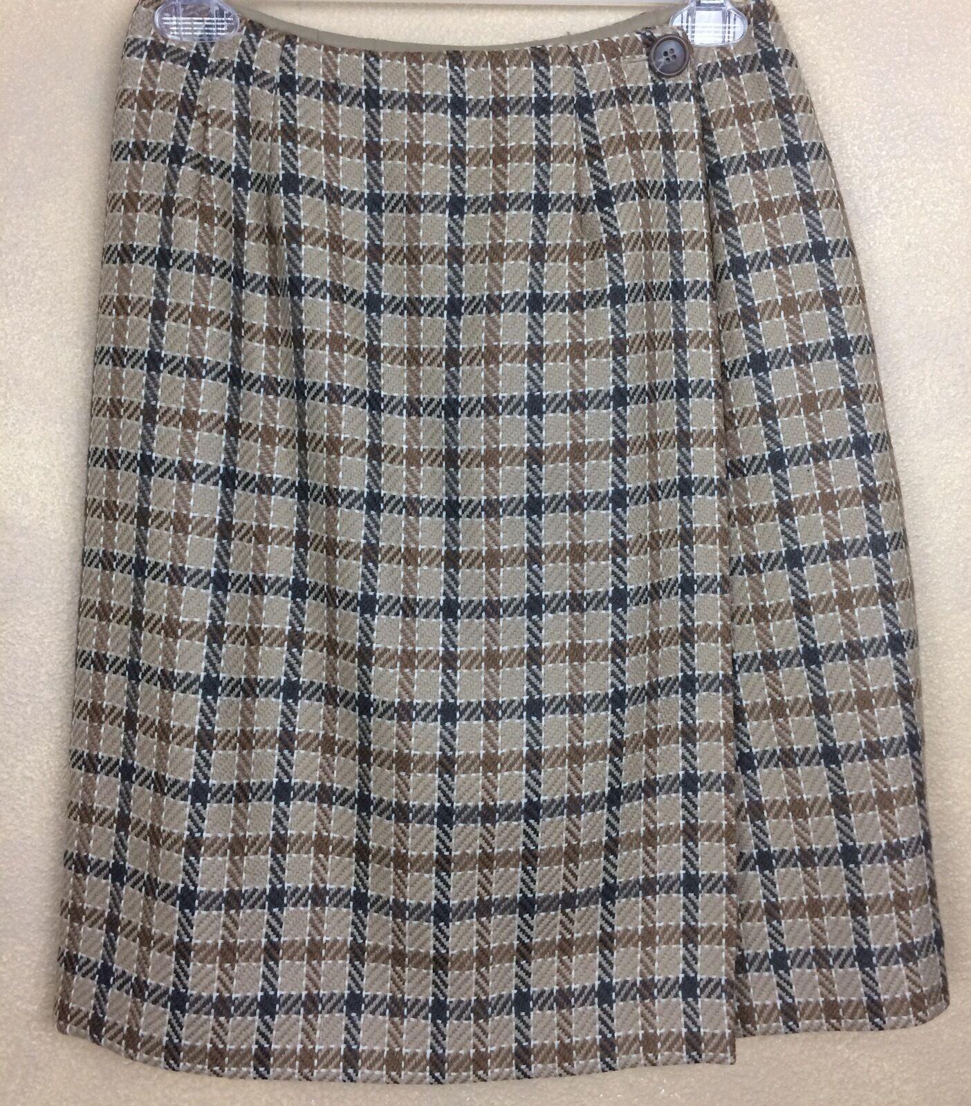 Vintage 80's Ann Taylor Plaid Wrap Skirt Wool Mohair Blend Size 6