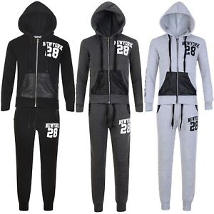 b2ebb2dfe66d7 Details about Girls Boys New York 28 Print Tracksuit Kids Jogging Bottoms  Hooded Top 3-16 Y