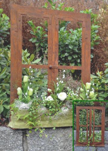 DEKO-FENSTER 80 x 60 cm zum Öffnen Fenster Edelrost Rost Gartendeko Garten
