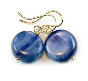 Kyanite-Earrings-Blue-Round-14k-Gold-Simple-Natural-Shimmer-Drop-Sterling-Silver