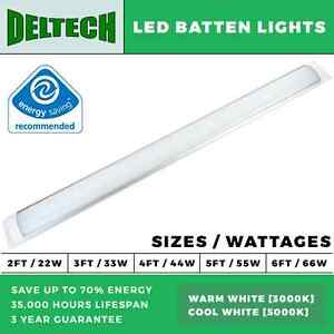 Details about DELTECH LED BATTEN LIGHTS 2FT-6FT LED STRIP LIGHTS 22W-66W  ENERGY SAVING BATTEN