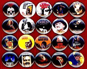 Horror-Movie-buttons-pins-badges-20-Texas-Chainsaw-Massacre-George-A-Romero-Dawn