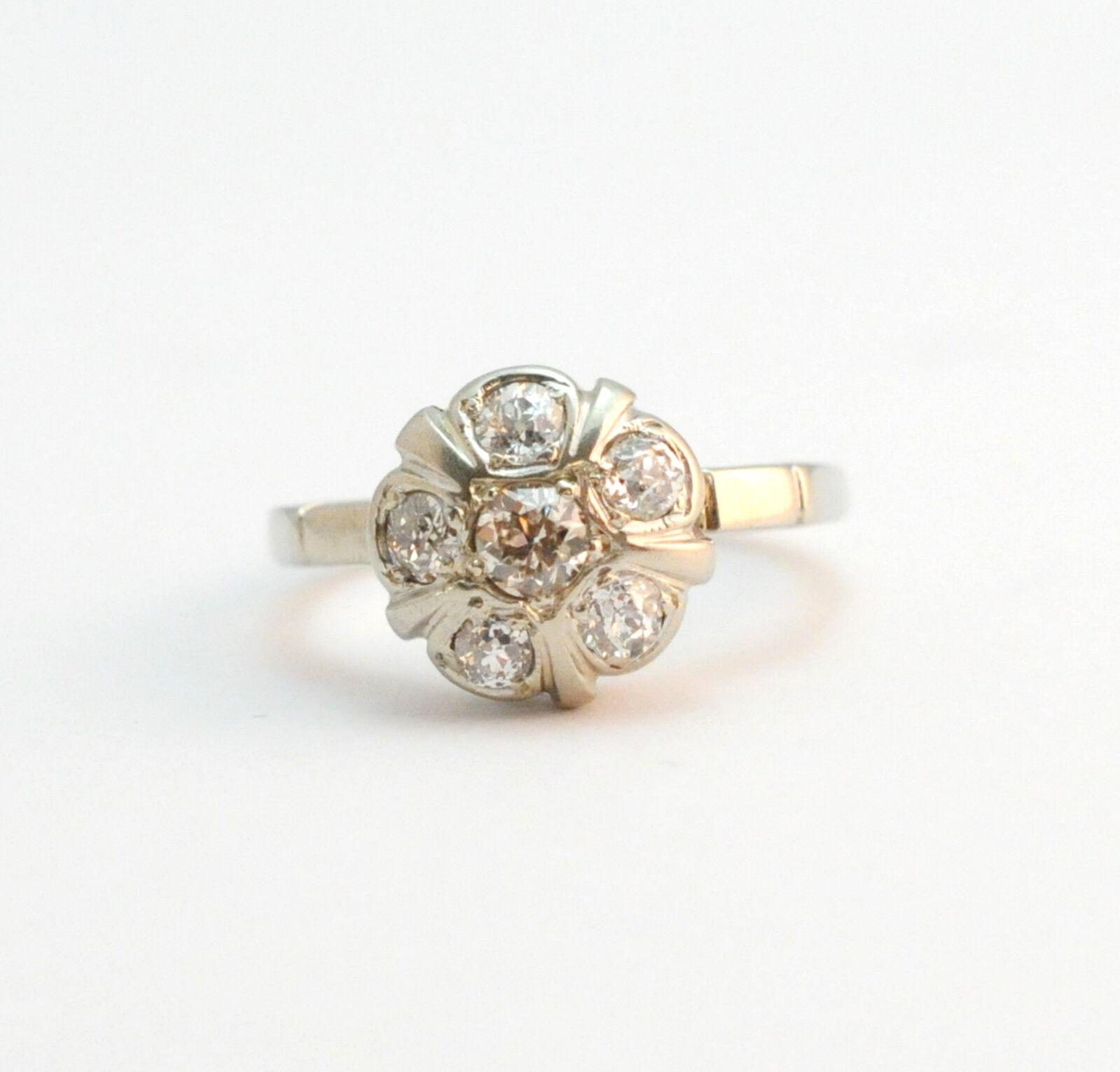 Art Deco  1 Carat Diamond Flower Ring 14k White gold Size 7