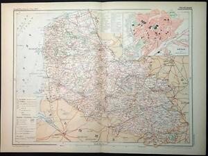 Map Of France Calais.Details About 1899 Antique Print Colour Map Of Pas De Calais Arras France French Carte