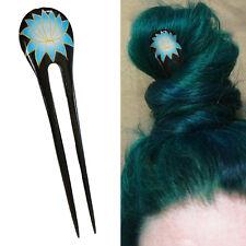 1PC Handcarve Black Paint Exotic Double Prong Hair Stick Light Blue Lotus Flower