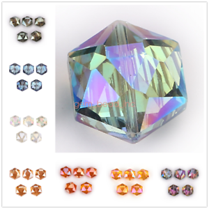 10Pcs-Hexagon-Faceted-Crystal-Glass-Charms-Spacer-Rondelle-Beads-Craft-Making