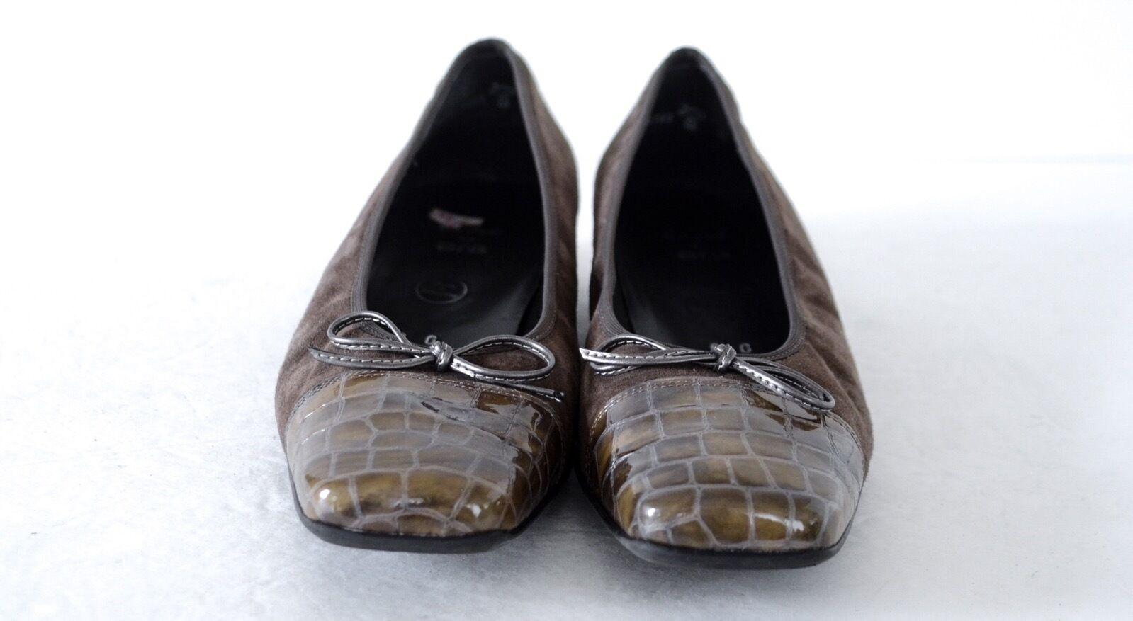 Rene By Ara Venezia Suede/Patent Olive Braun 6G/UK, Niedrig Heel Pumps Schuhes 6G/UK, Braun 8.5M 45085f