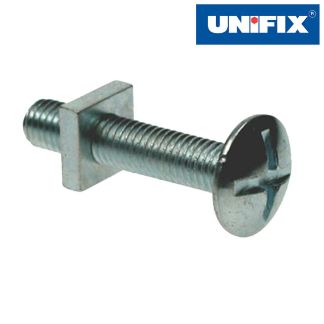 Unifix Mushroom Head Roofing Bolt and Square Nuts - Bright Zinc Plated