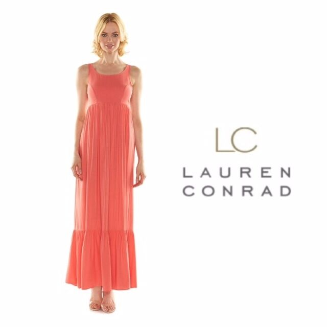 Buy Womens LC Lauren Conrad Coral Dress Maxi Spring Sleeveless Rayon Size  12 online  274d79ae2