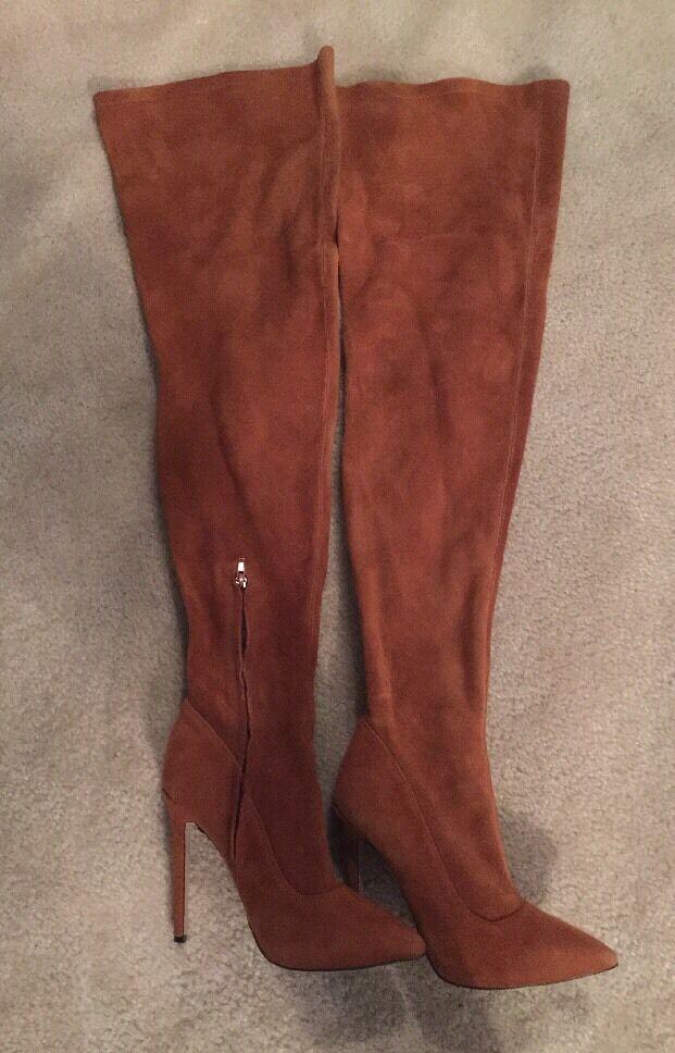 Tony Bianco Over Knee High Genuine Carmel Suede Leder Stiefel Heels Größe 8