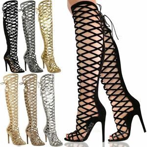 058dd502fb12 LADIES WOMENS CUT OUT LACE KNEE HIGH HEEL BOOTS GLADIATOR SANDALS ...