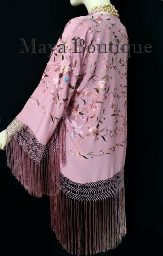 Birds Kimono franjes Strawberry Maya zijden Flower Geborduurde jas Multi Ice E2DH9YWeI