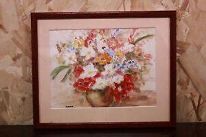 Quadro acquerello su carta watercolor raffigurante natura morta vaso di fiori - Italia - Quadro acquerello su carta watercolor raffigurante natura morta vaso di fiori - Italia