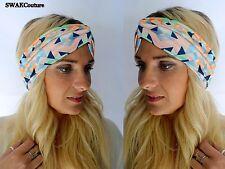 Wide Headband Turban HeadBand Chevron Head Wrap Twist Headband Coral Mint Navy