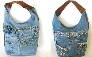 NEW-BLUE-JEAN-DENIM-FAUX-TURQUOISE-SILVER-FLORAL-BEADS-HOBO-HAND-BAG-PURSE
