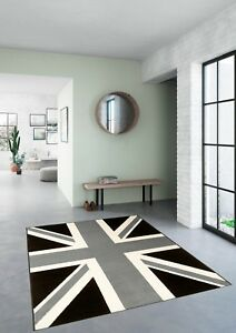 Image Is Loading Black Grey Union Jack Rug 120x170cm Rug101 170