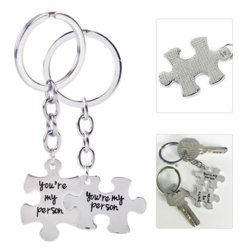 2pcs Alloy Puzzle You/'re My Person Key Ring Chain Keychain Lover Couples Keyring