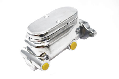 """GM Chevy Chrome Aluminum Smooth Flat Top Master Cylinder Corvette Style 1/"""" Bore"""