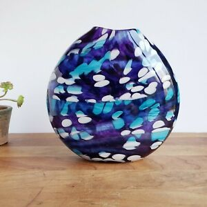 Art glass vase disk shape blue white purple Flame Run Studio 2009 Louisville KY