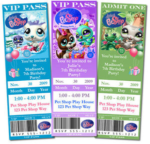 Personalized Little Pet Shop Birthday Tickets Or 4x6 Invitations Ebay