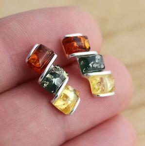 Multicolour-Baltic-Amber-925-Sterling-Silver-Stud-Earrings-Jewellery