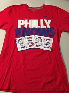 PHILADELPHIA PHILLIES NIKE PHILLY KNOWS RETRO 4 ACES RED TEE SHIRT ... d9f4194d53a