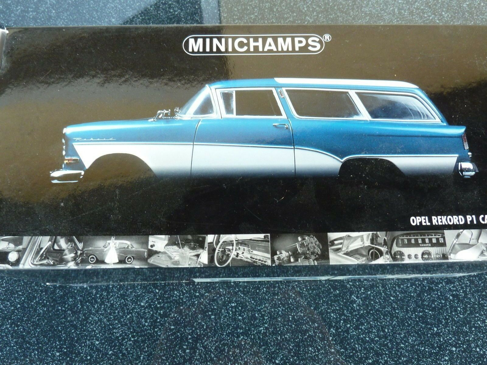 1 18 Minichamps - - Opel Rekord P1 1958 Caravan Estate blueee White