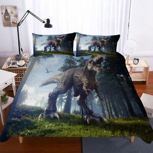 3D Jurassic Park Dinosaur Quilt Duvet Doona Cover Set Kid ...