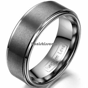 Brushed-Center-Tungsten-Carbide-8mm-Men-039-s-Women-039-s-Wedding-Band-Comfort-Fit-Ring