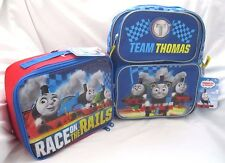 """THOMAS THE TRAIN 12"""" BACKPACK + RACE ON THE RAILS THOMAS LUNCHBOX LUNCH BAG-NEW!"""