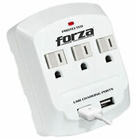 Forza Power Surge Protector 3 Sliding Outlet Dual Usb Ports Grounded Wall Tap