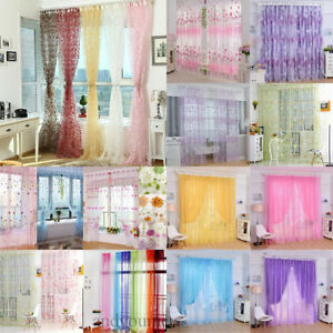 Floral-Tulle-Voile-Door-Window-Curtain-Drape-Panel-Sheers-Scarf-Valances-Divider
