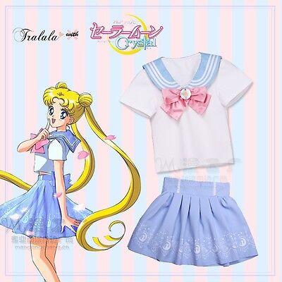 Cute Girls Sailor Suit Short Sleeves T shirt + Skirt Sailor Moon COSPLAY Costume